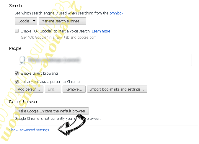 Search.funsecuritytab.com - comment faire pour supprimer? Chrome settings more
