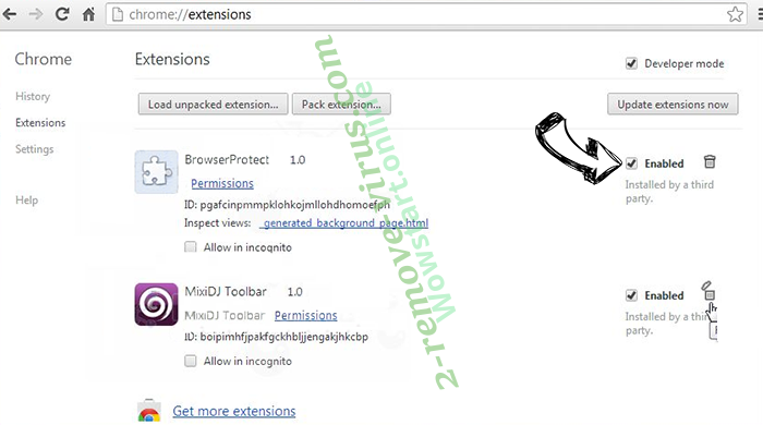 Rimuovere Othersearch virus Chrome extensions disable