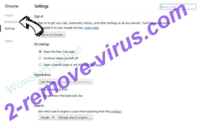 Othersearch virus Chrome settings