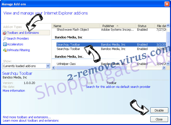 Shoppingate Ads IE toolbars and extensions