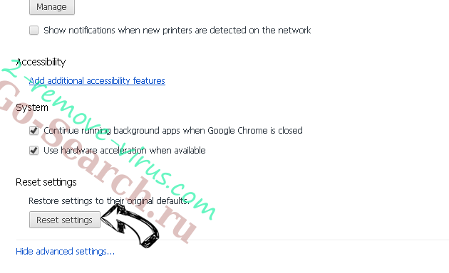 Go-Search.ru Chrome advanced menu