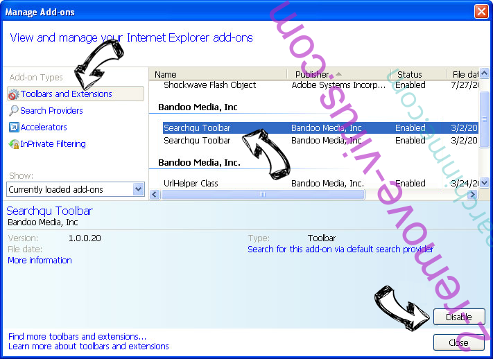 Wizesearch.com IE toolbars and extensions