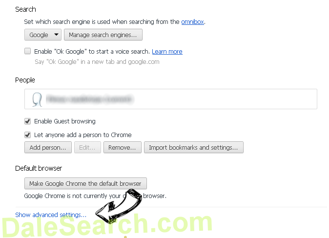 DaleSearch.com Chrome settings more