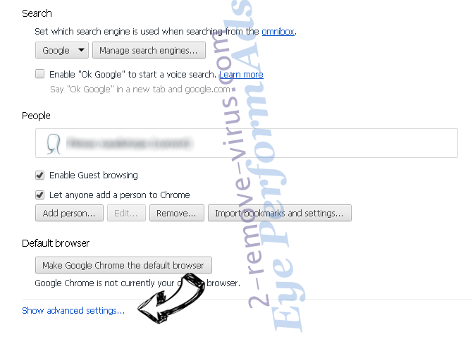 Webssearches.com Chrome settings more