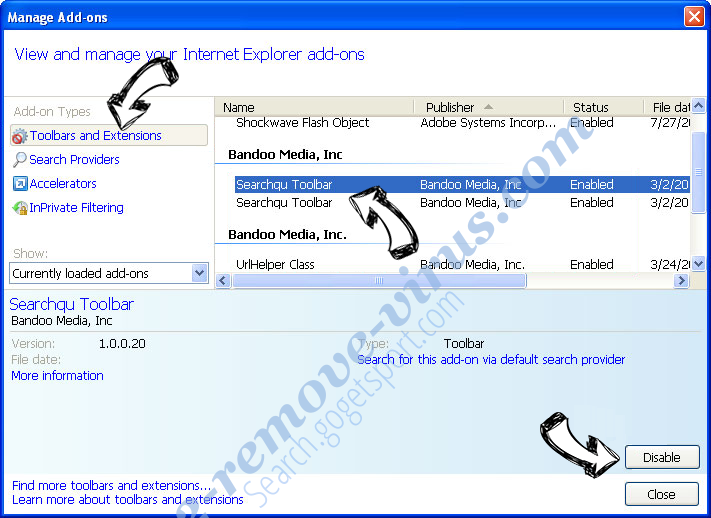 Clearsearches.com IE toolbars and extensions