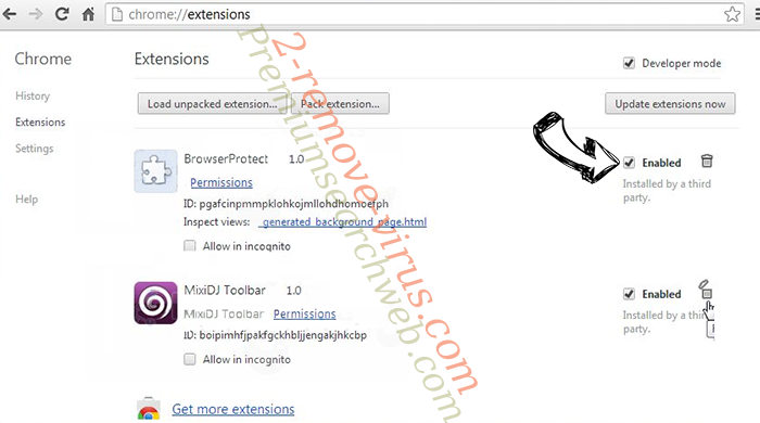 Search Protect by Conduit Chrome extensions disable