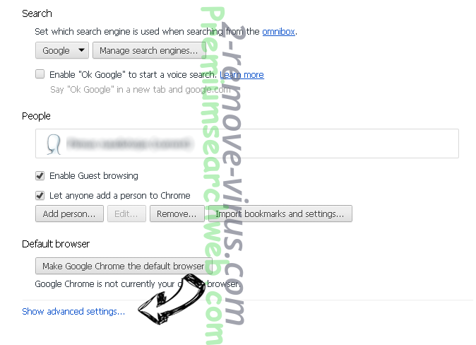 Search Protect by Conduit Chrome settings more