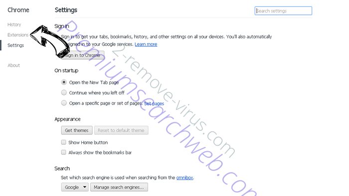 Search Protect by Conduit Chrome settings