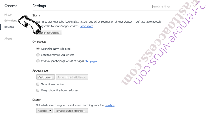 Yahoo Redirect Virus Chrome settings