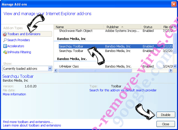 Newstartsearch.com IE toolbars and extensions