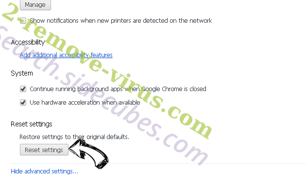 Bedep virus Chrome advanced menu