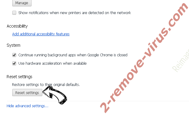 Reimage Chrome advanced menu
