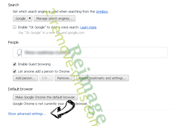Tfln.com Redirect Chrome settings more