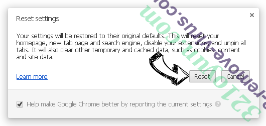 Fake Google Security Warning Chrome reset