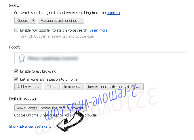 Togosearching.com virus Chrome settings more