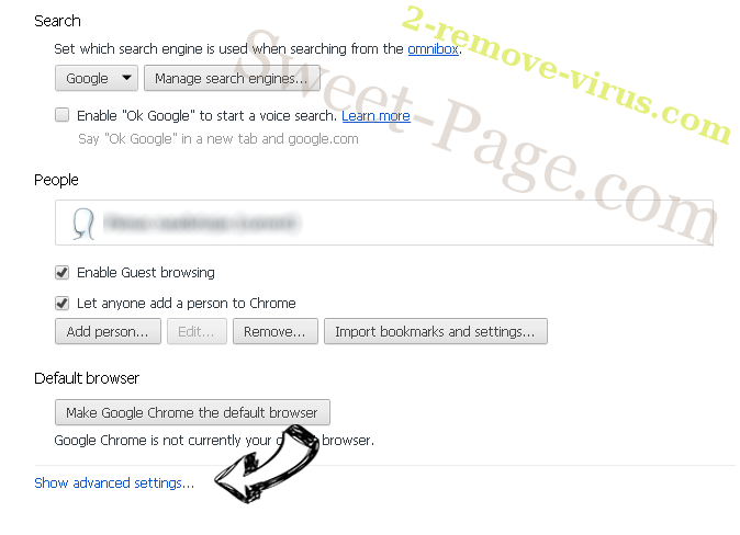 Sweet-Page.com Chrome settings more