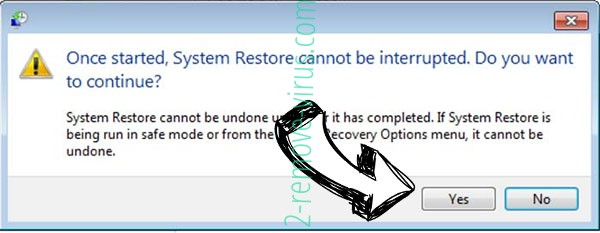 Nuksus ransomware removal - restore message
