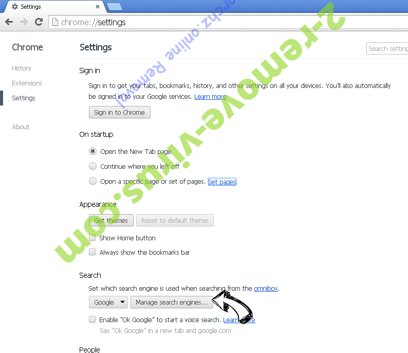Searchz.online Chrome extensions disable