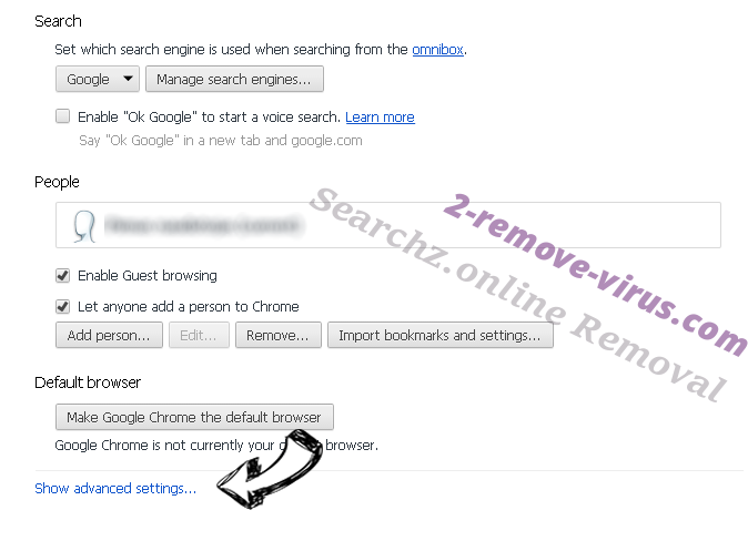 Searchz.online Chrome settings more