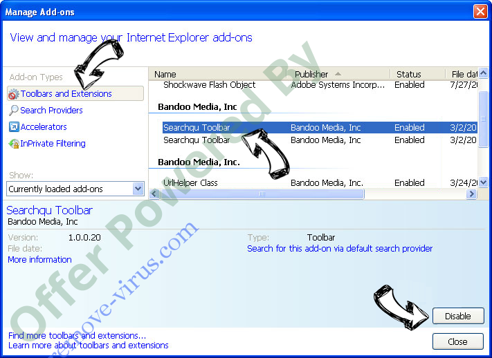 Trojanhorsexxx.com Virus IE toolbars and extensions