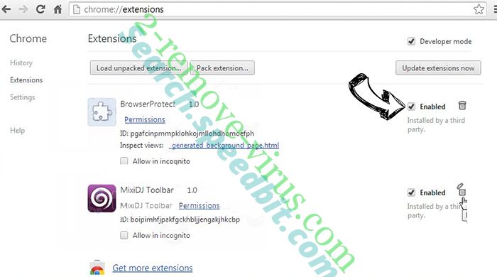Adultfilter.net Redirect Virus Chrome extensions disable