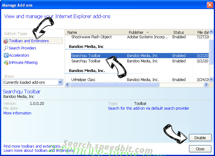 Search.speedbit.com IE toolbars and extensions