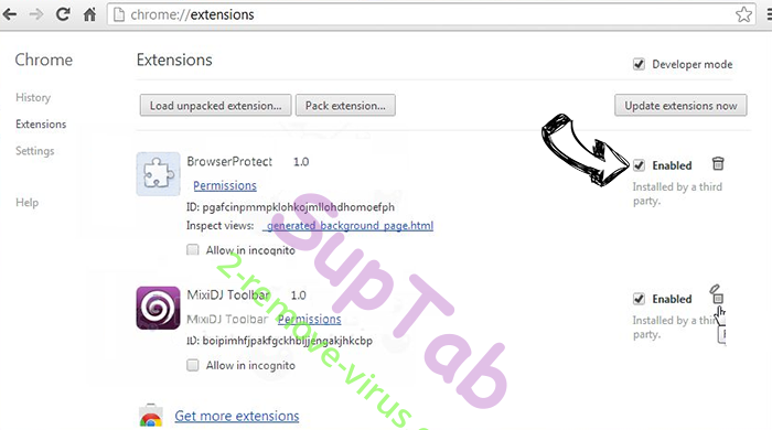 Yahoo Redirect Virus Chrome extensions disable