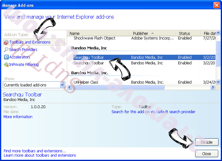 Yahoo Redirect Virus IE toolbars and extensions