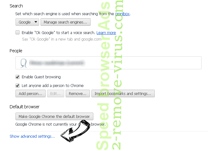 Ifastsearch.com Chrome settings more