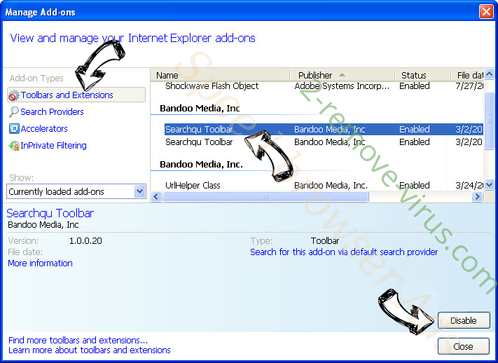 SearchPrivately.co IE toolbars and extensions