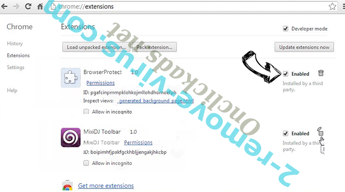 Topsnote.ru Chrome extensions disable