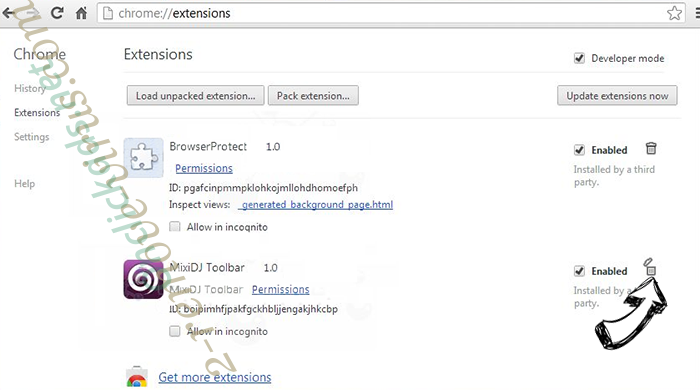 Search.yahoo.com Chrome extensions remove