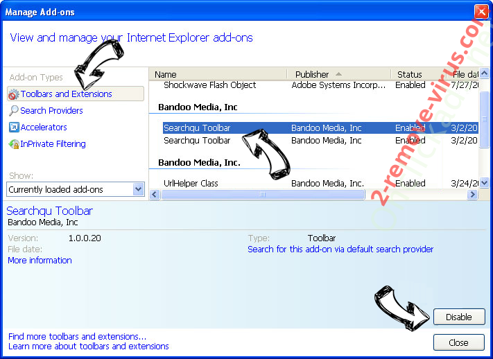 Search.yahoo.com IE toolbars and extensions