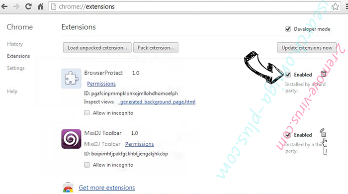 Conduit virus Chrome extensions disable