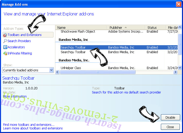 isearch.omiga-plus.com IE toolbars and extensions