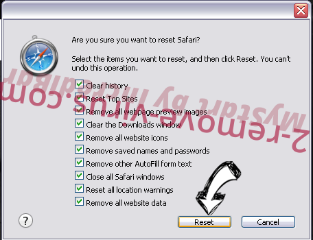 Safe Finder Safari reset