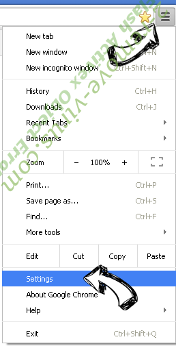 Coupontabsearch.com Chrome menu