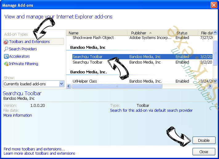 WebSearcher.eu IE toolbars and extensions