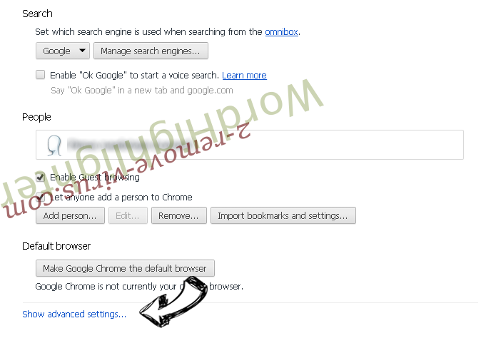 Privacysearch.link Chrome settings more