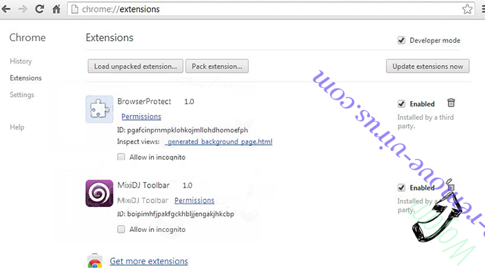 PopAndPush Virus Chrome extensions remove