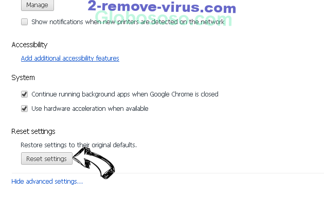Friendlyerror.com Removal Chrome advanced menu