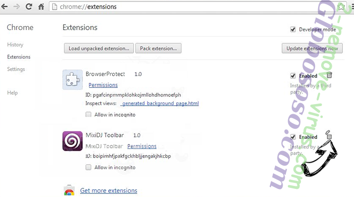 Yahoo Powered Virus Chrome extensions remove