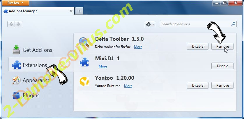 Download Boss verwijderen Firefox extensions