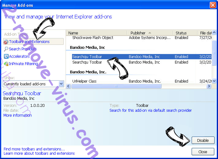 Search.searchyea.com IE toolbars and extensions