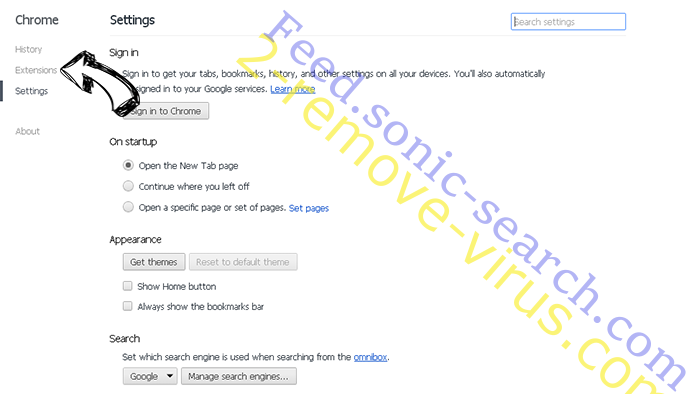 Feed.sonic-search.com Chrome settings
