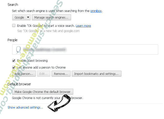 Search.searchonin.com Chrome settings more
