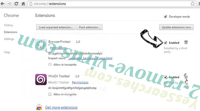 Cleanervirus.club Chrome extensions disable
