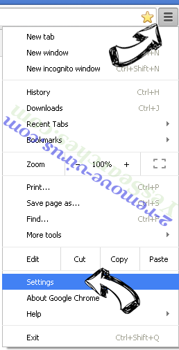 Client.foxydeal.com Virus Chrome menu