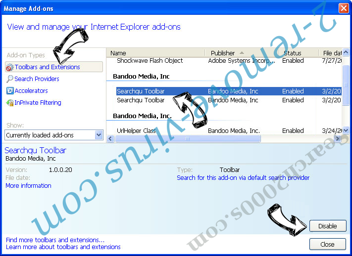 Search2000s.com IE toolbars and extensions
