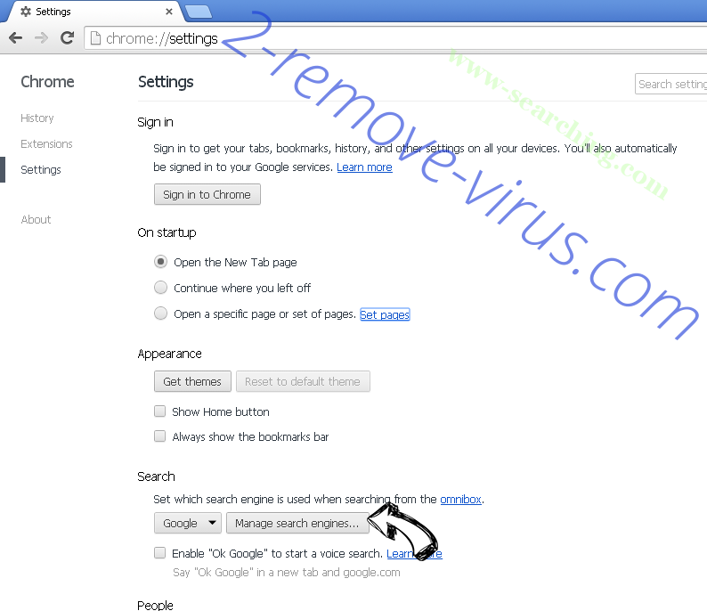 Www-searching.com entfernen Chrome extensions disable